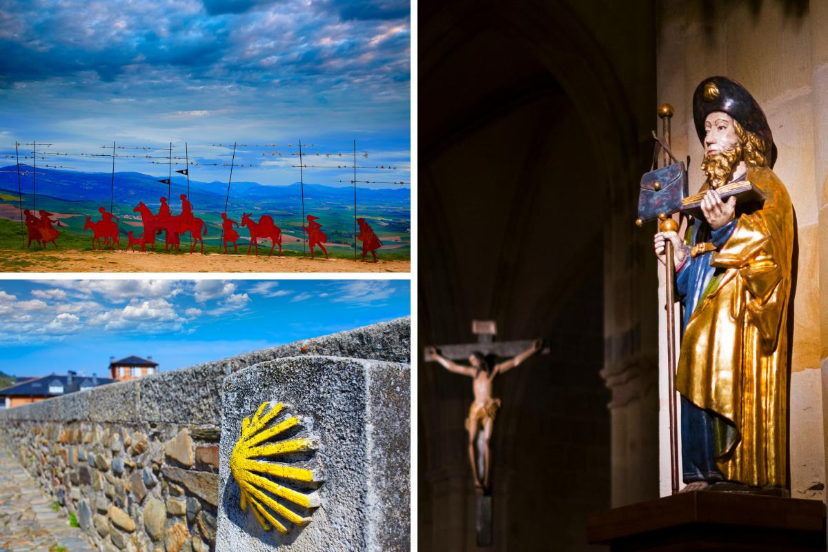 Billede af Sankt Jakob samt symbolet fra Caminoen og figur af pilgrimme